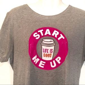 Life Is Good Start Me Up Dunkin Coffee T-Shirt-L